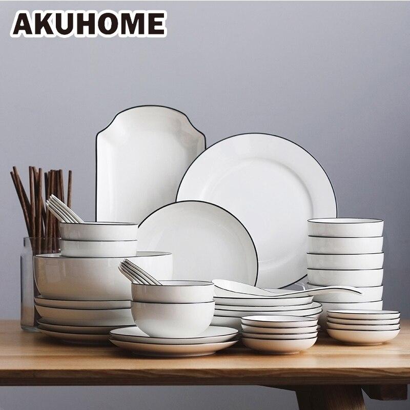 Vaisselle chinoise Simple en céramique   Service de table, assiette 10 personnes boîte-cadeau