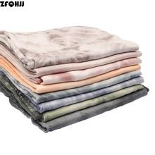 ZFQHJJ 2018 Fashion Vintage Dirty Dye Print Scarf Cotton Linen Women Sc