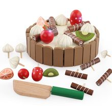 Educational Toy Baby Gift Children Birthday Cake Magnet Wooden Toys Kitchen Pretend Play Fruit Toy Early Cooking Cutter Set baby toys simulation vegetable fruit seafood wooden toys for kids cut set prentend play large food set educational birthday gift