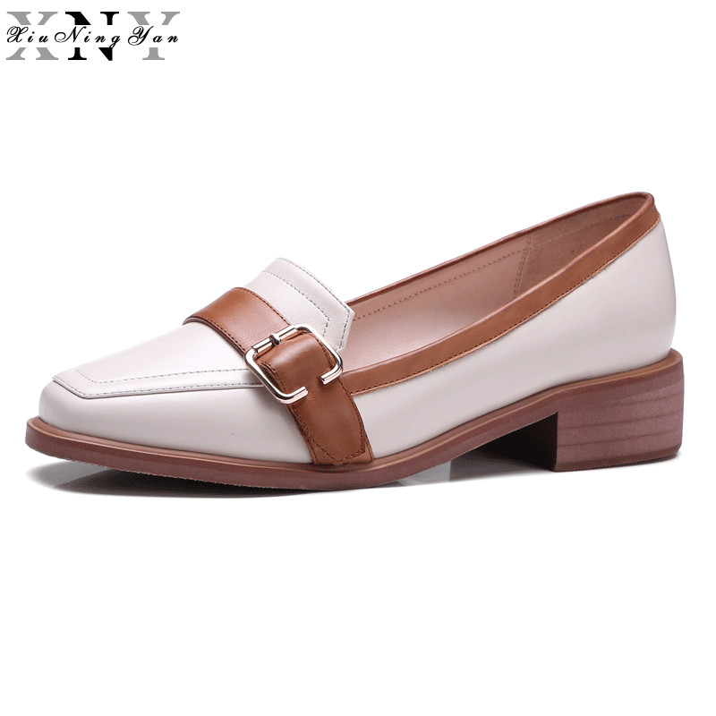 XiuNingYan Women Oxfords Genuine Leather Ladies Casual Flats Slip-on Handmade Sheepskin Women's Loafers Muffin Female Shoes 2017 new style comfortable casual shoes men genuine leather shoes non slip flats handmade oxfords soft loafers luxury brand moccasins