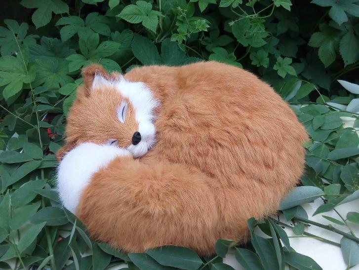 cute big simulation fox toy beautiful lovely fox brown sleeping fox doll gift about 27x12x27cm