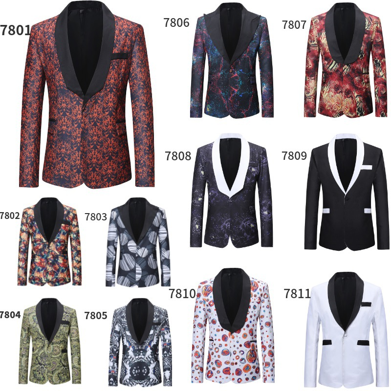 Mens Printed Business Casual Blazer Slim New Wind Red Blue Black 3XL Elegant Wedding Party Stylish Blazers For Men Suit Jacket