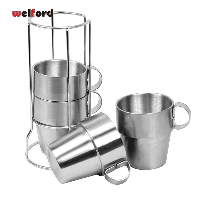 KOREA Udendørs ikke-magnetisk rustfrit stål kaffekrus bære te krus dobbelt kopper picnic isolering anti-brændende krus og kopper