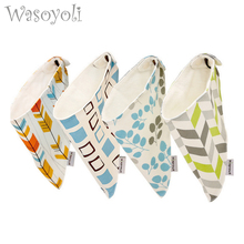 Wasoyoli 2 Pieces / Lot Colorful Triangle Scarf 100% Cotton 2 layers With Button Baby Bib Toddler Boy Girl Feeding Smock Bibs