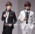 Free shipping mens fan collar sequins black/white tuxedo jacket and pants suits set costume stage performance/event suit