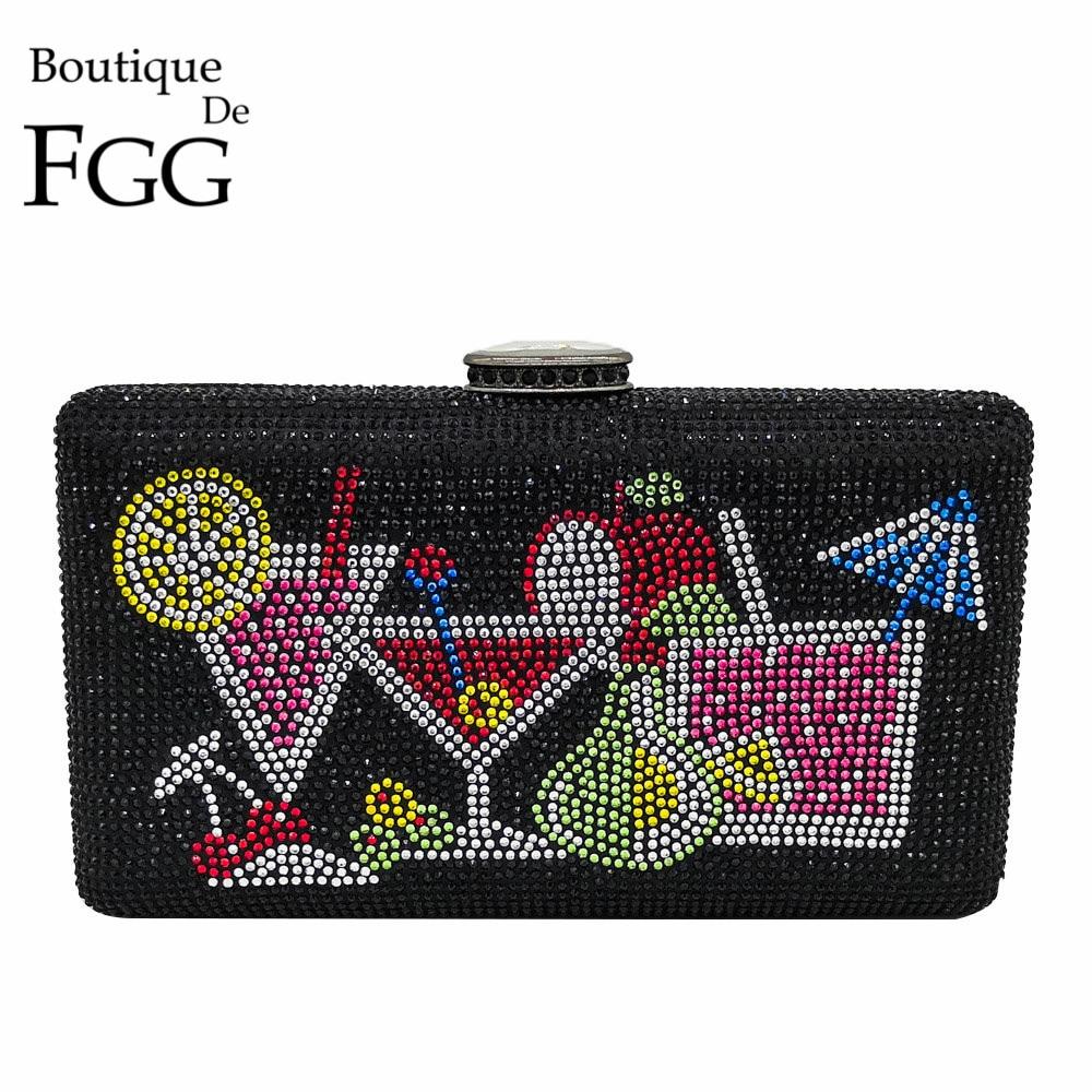 Boutique De FGG Dazzling Crystal Women Evening Clutch Bags Box  Handbags Diamond Cocktail Clutch Wedding Party Bridal Handbag  BagTop-Handle Bags