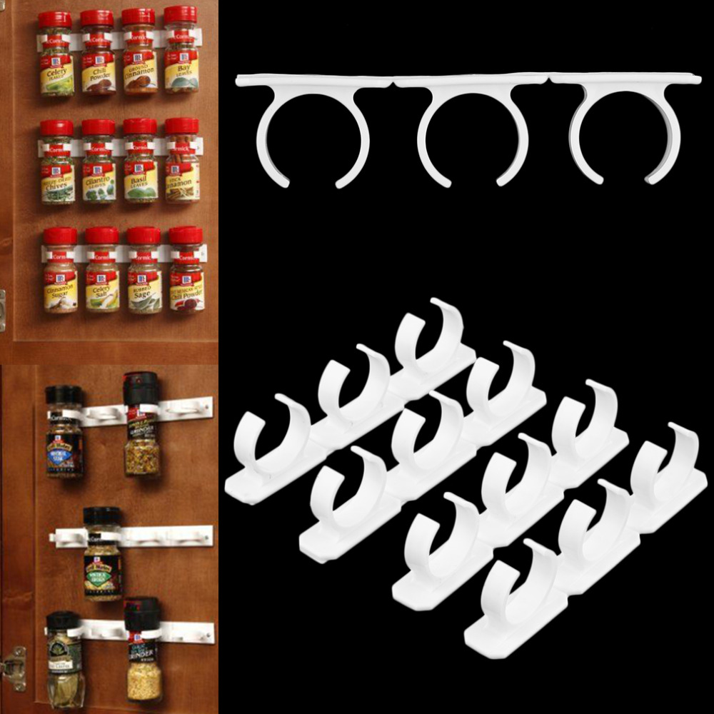 Home Use Plastic Spice Gripper Wall Rack Storage Holders