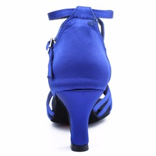 Heel 7cm/5cm Blue Satin Latin Dance Shoes Woman Zapatos De Baile Latino Mujer WZJ Free Shipping