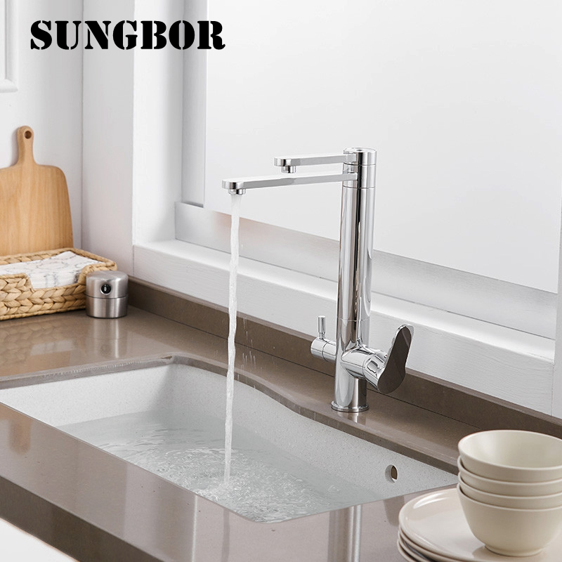 Chrome Kitchen Faucets 360 Degree Rotation 3 Way Water Filter Tap Water Faucets Solid Brass Kitchen Sink Tap Water Mixer CF-0182