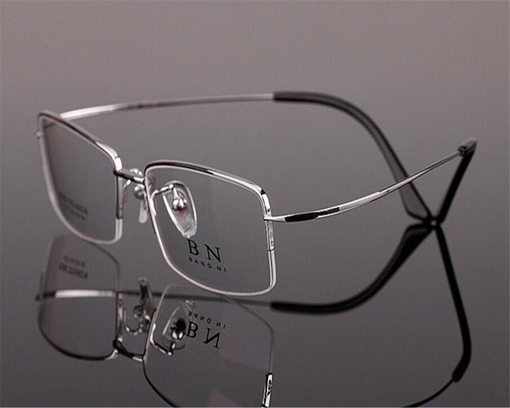 54-18-140 Brand Designer Fashion Men Pure Titanium Half Rim Super Light Gold Silver Optical Myopia Eyewear Eyeglses Zjh9279 Good For Energy And The Spleen Men's Eyewear Frames Apparel Accessories