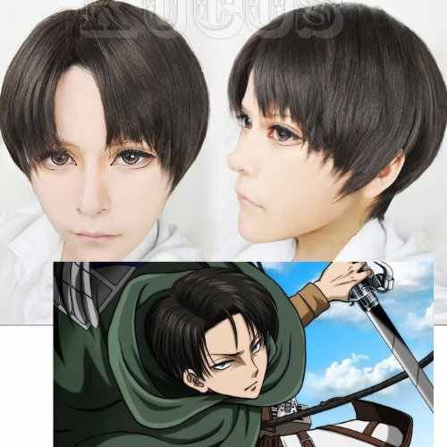 Attack on Titan Levi Ackerman Short Mixed Black Brown Heat Resistant Hair Cosplay Costume Wig + Free Wig Cap