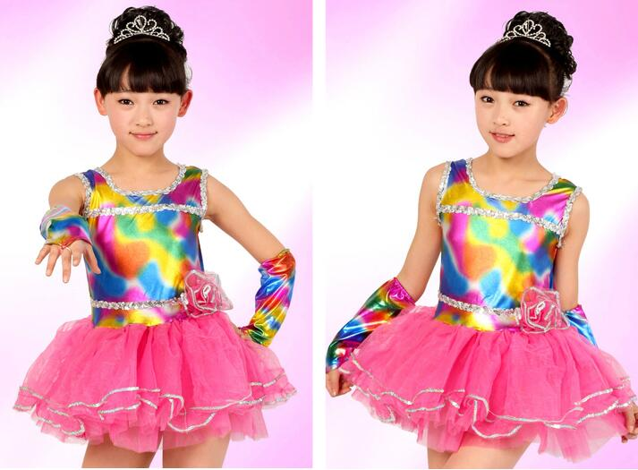 Free shipping Girl kids Latin Dance dress Rainbow Pink Yellow Stage Performance Suit 100cm 150cm in Latin from Novelty Special Use