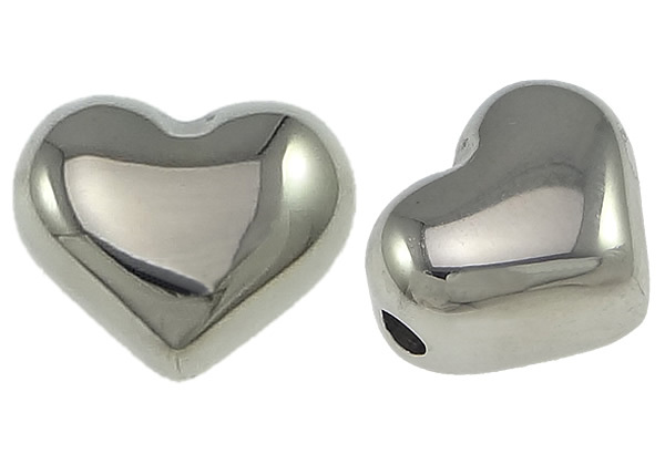 50 PCs/Lot perles breloques pour la fabrication de bijoux collier bracelet bricolage en acier inoxydable coeur 10.5x9x7mm trou: 2mm perles en vrac en gros