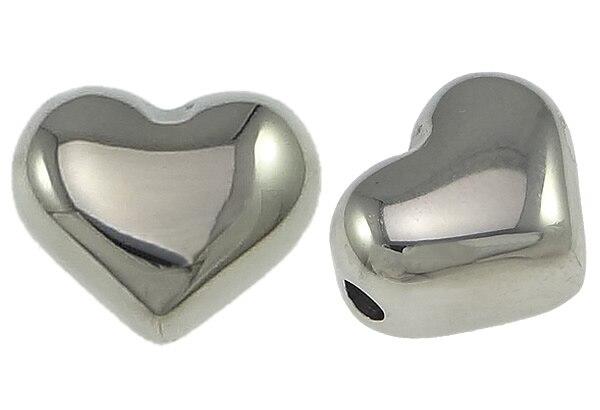 50 PCs/Lot perles charmes pour la fabrication de bijoux collier bracelet bricolage en acier inoxydable coeur 10.5x9x7mm trou: 2mm perles en vrac en gros-in Perles from Bijoux et Accessoires    1