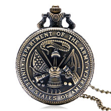 USA Army Theme Pocket Watch Bronze American Army Department Pattern Slim Chain Cool Boys Men Clock Best Gifts for Military Fans