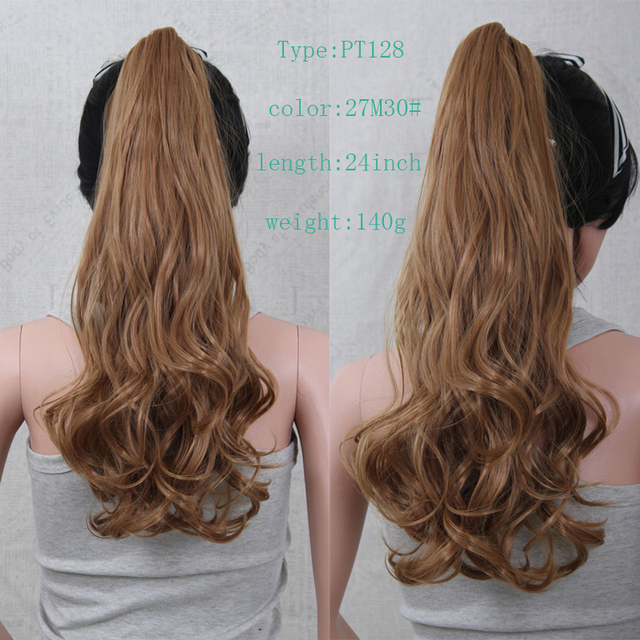 Long Sexy Lady 24inch Curly Wavy Ponytail Hair Extension Dark Brown