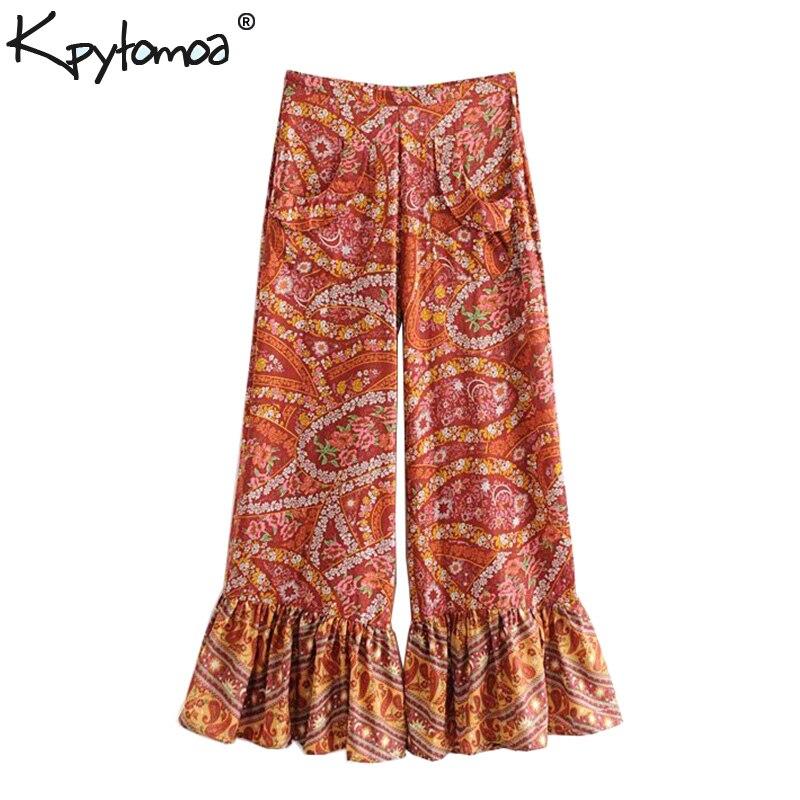 Boho Chic Summer Vintage Floral Print Flare Pants Women 2019 Fashion Zipper Fly Ladies Beach Ankle Trousers Pantalones Femme