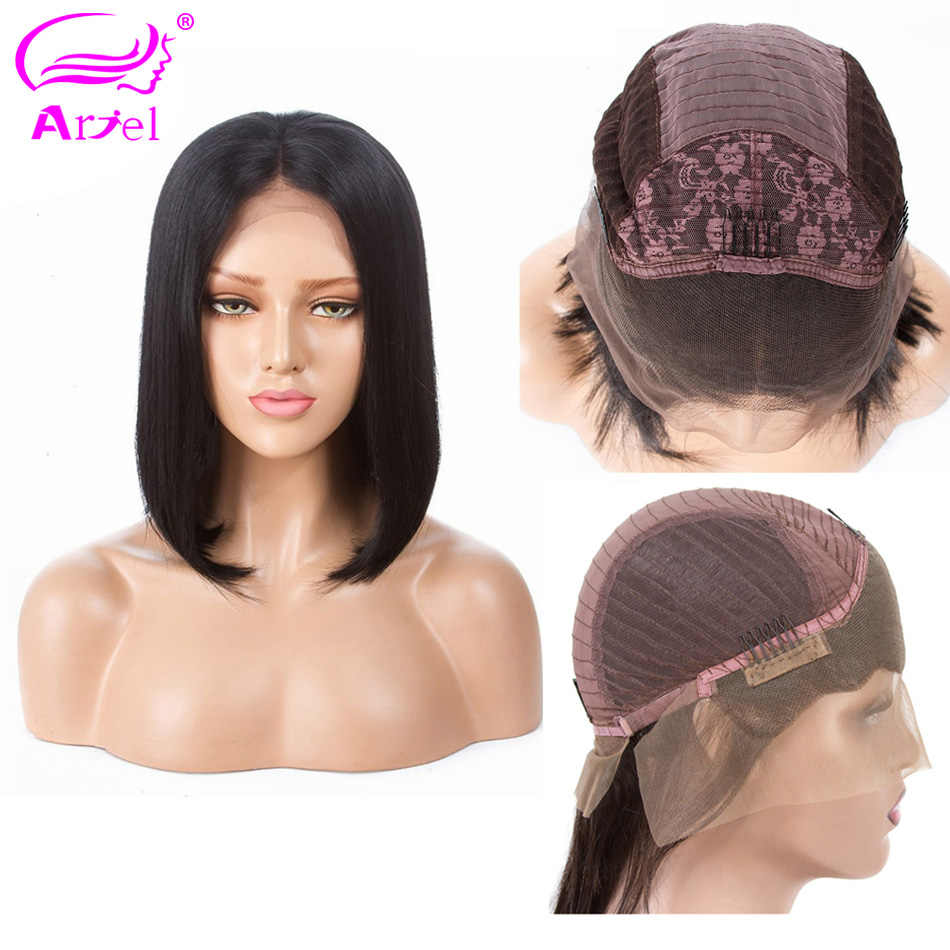ARIEL Short BOB Wigs Lace Front Human Hair Wigs Mongolian Straight 13*4 Lace Frontal Wigs For Black Women Remy Hair Middle Part