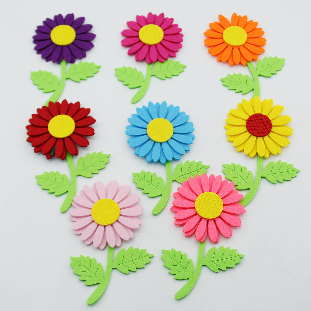DIY 8pcs Mixed Color Flower Applique Felt Fabric Cute Free Cutting Decor Nonwoven Handmade Crafts Sewing Cloth Kids Toy Handwork