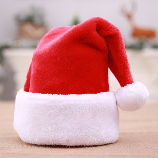 e64f779f56922 Festive Party Supplies Red flannelette Big Balls Thickened Santa Claus Christmas  Hats