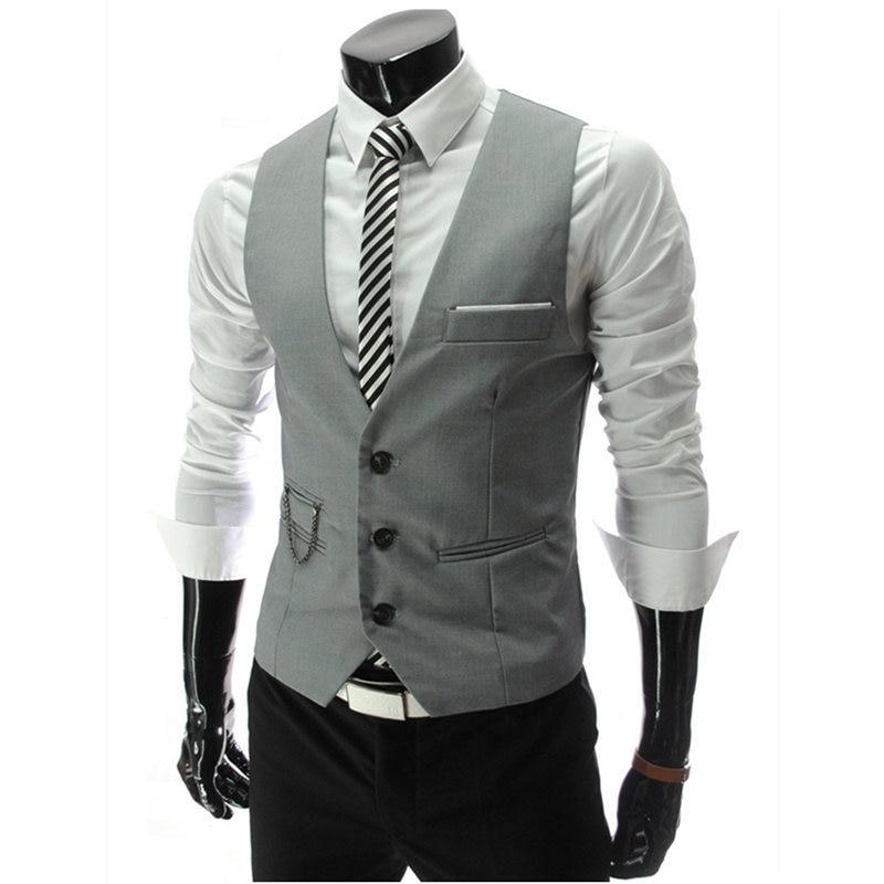 Жилет костюм мужской Костюм хлопковый жилет для мужчин короткое пальто в формальном стиле свадебное серое Повседневное платье белый блейзер черный красный бизнес - Цвет: Серый