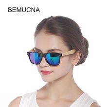 2017 New BEMUCNA Wood Sunglasses Men Bamboo Sunglass Women Brand Design Sport Goggles Gold Mirror Sun Glasses