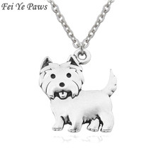 68dbcb522 Fei Ye Paws Women Necklace Westie Pendants Boho Copper Metal Dog Charms  Necklaces Long Stainless Steel Chain Colar For Girls
