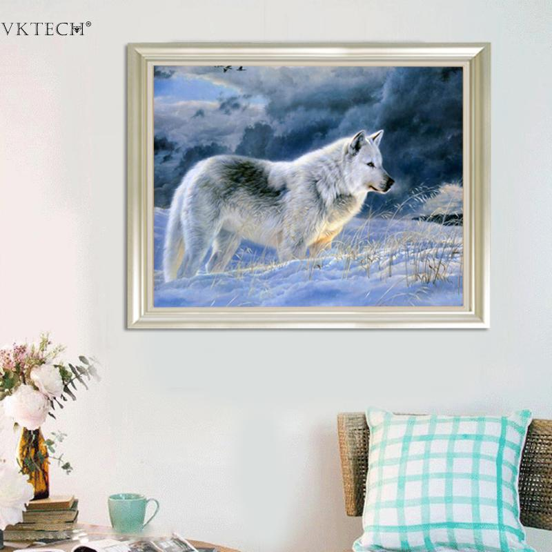 DIY Broderi Snö Wolf 5D Diamantmålning Craft Corss Stitch Diamond - Konst, hantverk och sömnad - Foto 2