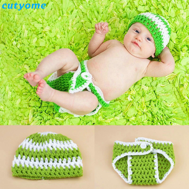 Cutyome 2018 Green Color Knit Crochet Baby Beanies+pants Suits Cotton Newborn Photography Props Costume Outfits For Girl/boy
