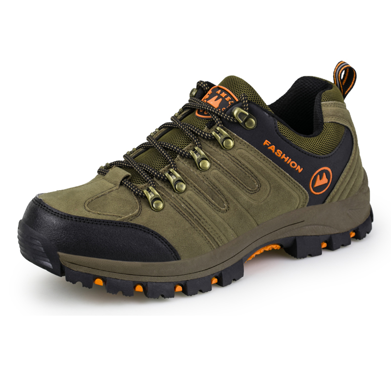 Leather Men Shoes Slip On Men Hiking Shoes Mountain Boots Autumn/Winter Trekking Walking Sport Sneakers Gray/Brown Sneakers Men ifrich hiking shoes men outdoor climbing trekking sneakers spring autumn mountain walking shoes leather blue gray hunting boots