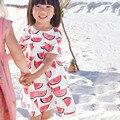 Comercio al por mayor de little maven 6 unids fiesta de cumpleaños vestido de la muchacha niños sandía vestido de la impresión del bebé del vestido de los niños ropa