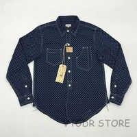 Bob Dong 1920s Vintage Wabash Indigo Work Shirt Fall Men's Star Pattern Long Sleeve Casual Pocket Workshirt