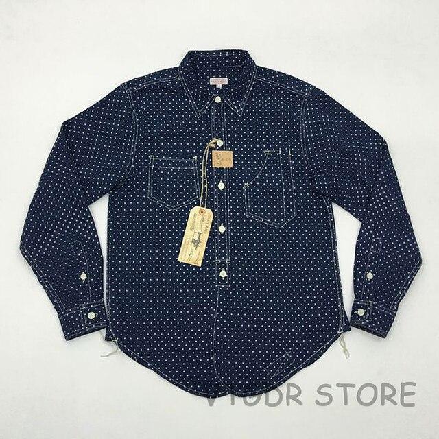 feb0c304 US $64.79 28% OFF|Bob Dong 1920s Vintage Wabash Indigo Work Shirt Fall  Men's Star Pattern Long Sleeve Casual Pocket Workshirt -in Casual Shirts  from ...