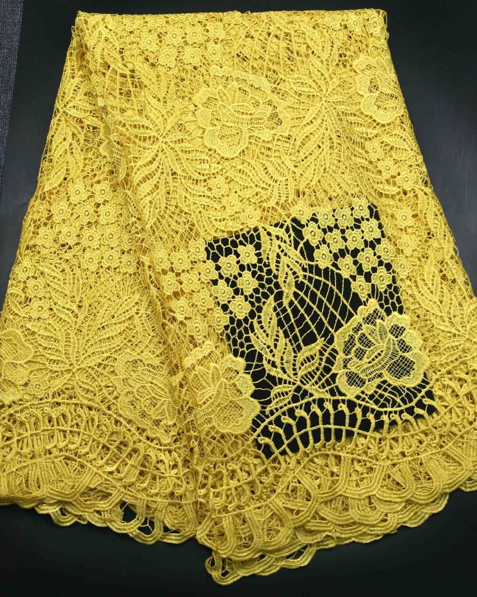 High Quality African Chemical Lace Fabric Water Soluble Yellow Nigerian Guipure Wedding Dress African Lace FabricHigh Quality African Chemical Lace Fabric Water Soluble Yellow Nigerian Guipure Wedding Dress African Lace Fabric