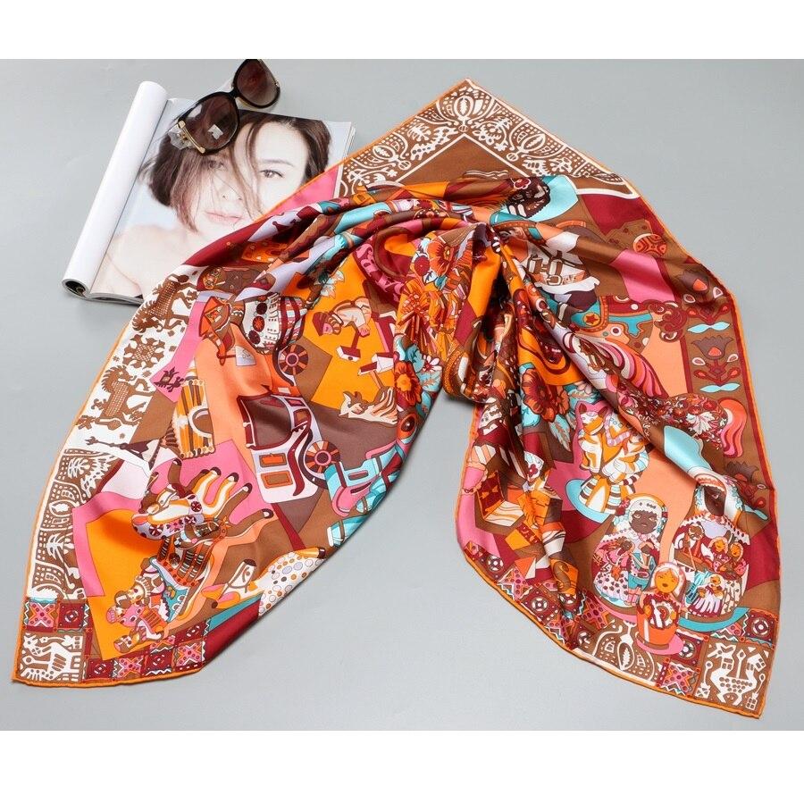 High Style 100% Twill Silk   Scarf     Wraps   Head   Scarves   for Women's Large Square Silk Shawl Foulard 35