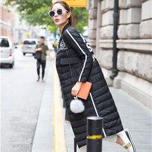 2016 Новая Мода женские Зимние легкие Длинные Куртки Letter Pattern Тонкий Кнопка Парки Для Женщин
