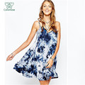 Горячая Мода Летнее платье женщины богемный стиль печати мини спагетти strp спинки платья freeshipping