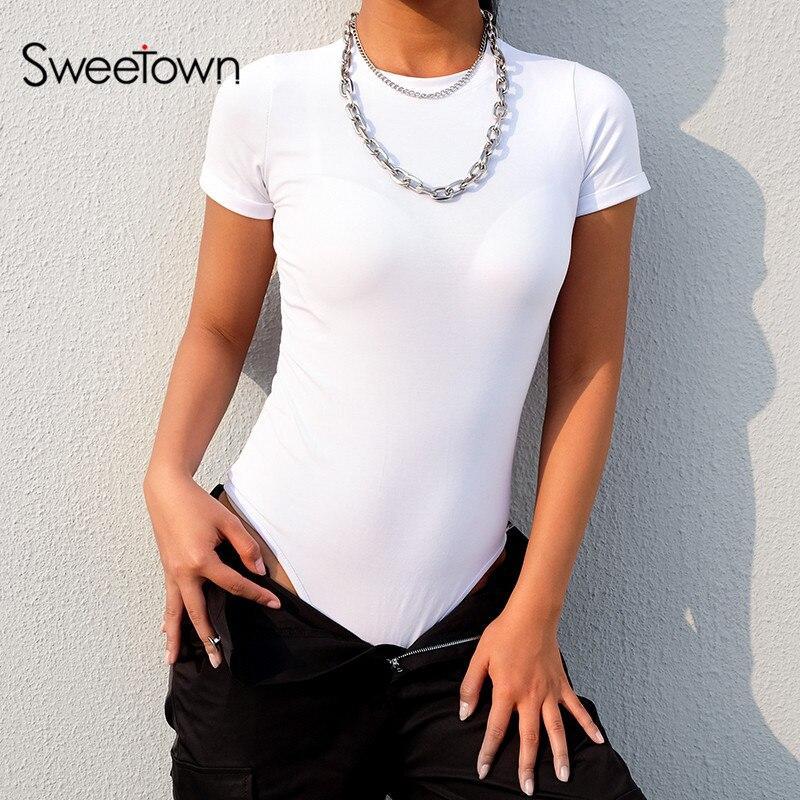 Sweetown Black Short Sleeve Bodysuit Women Summer Autumn 2019 White Elegant O-Neck Body Femme Green Basic Bodycon Bodysuits
