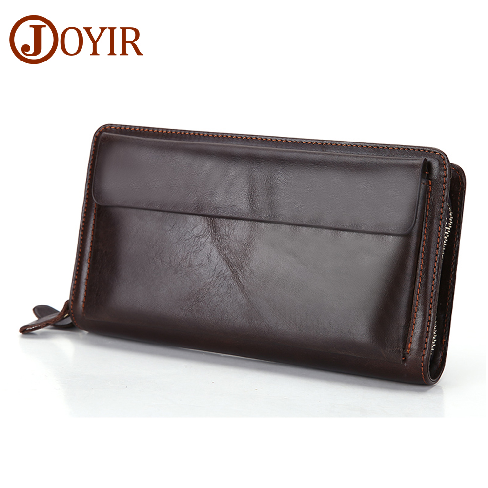 JOYIR Men Genuine Leather Wallet Long Double Zipper Wallet Male Wallets Handbag Male Clutch Bag Coin Purse Money Card Holder2018 men wallet male cowhide genuine leather purse money clutch card holder coin short crazy horse photo fashion 2017 male wallets