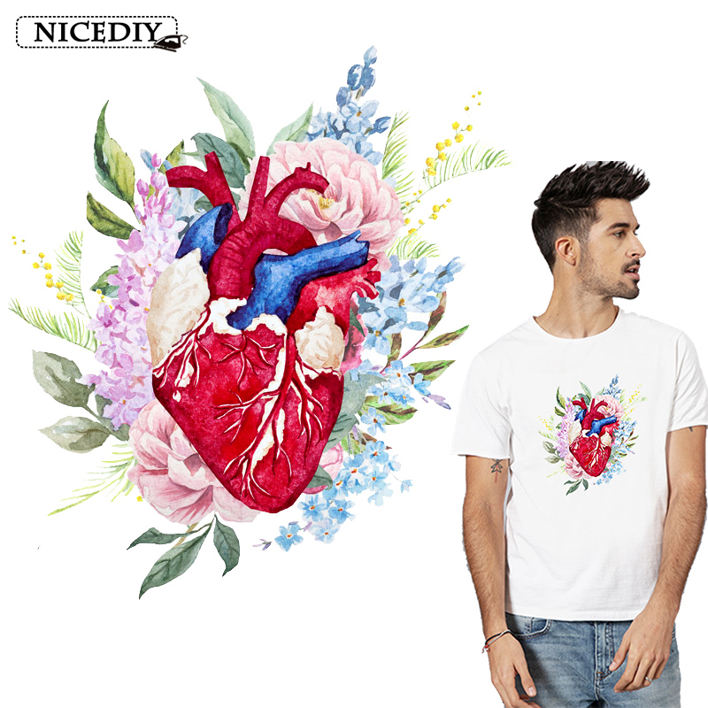 Nicediy Flower Heart Patch Iron-on Transfer For Clothes Accessory Heat Vinyl Sticker Applique On Washable