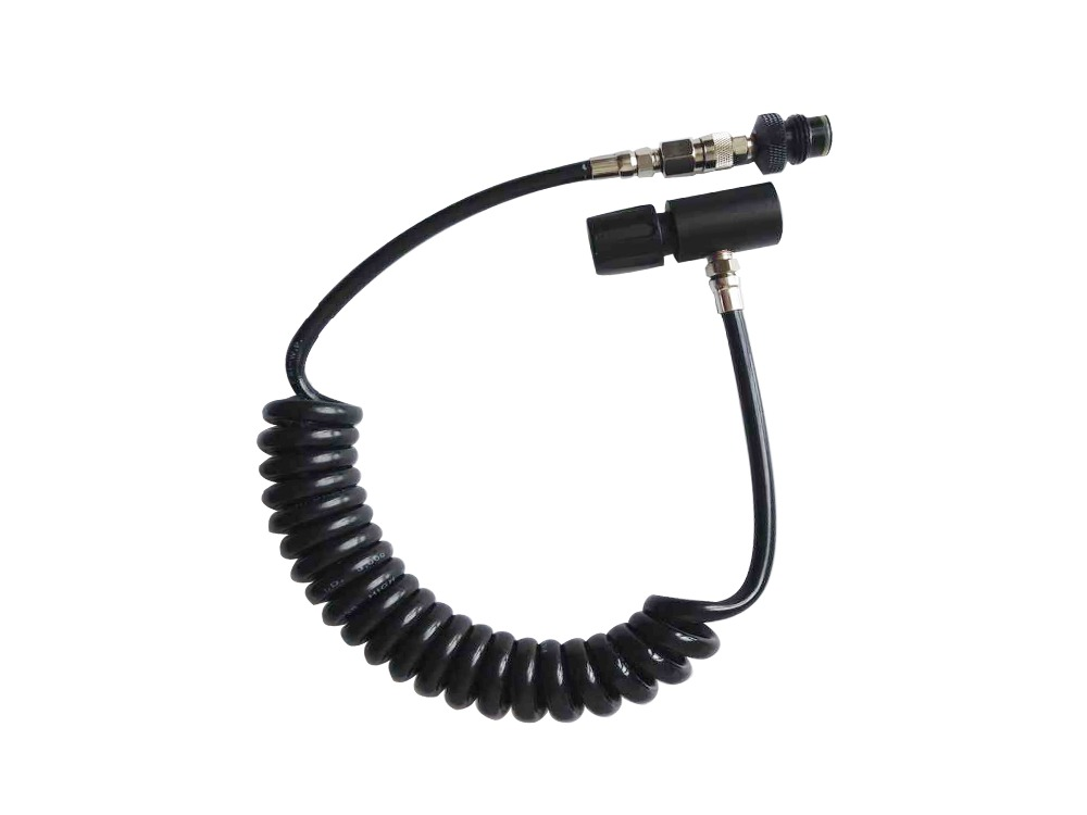 Paintball Remote Hose PCP High Pressure Coil Hose  With Quick Disconnect ASA 3000PSI Black