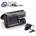 "Dual Lens Car DVR Camera I1000 Full HD 1080P 2.0""LCD Dash Cam +Rear View Camera+8 IR Led Light Night Vision H.264 Video Recorder"
