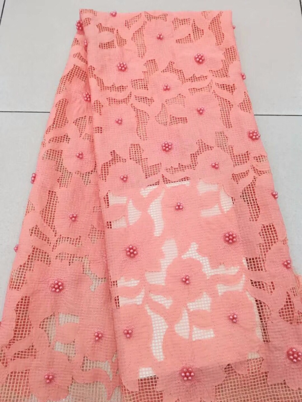 peach african lace fabric 2017 high quality lace beaded fabric mesh fabric  for wedding dresses 5yard lot DPF -in Lace from Home   Garden on  Aliexpress.com ... 41eee6ff546b