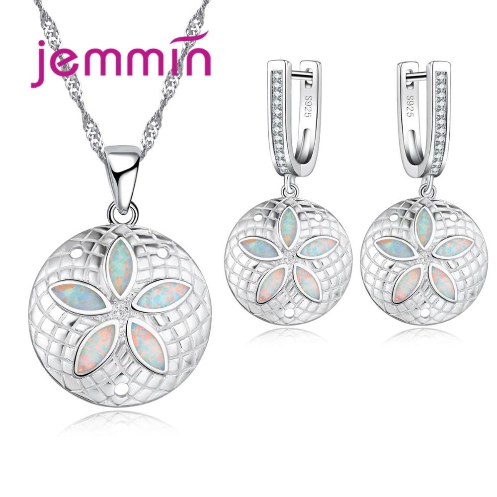 FleißIg Jemmin Vintage Edlen 925 Sterling Silber Braut Hochzeit Schmuck-sets Für Frauen Opal Ohrringe Halsketten Set Für Engagement