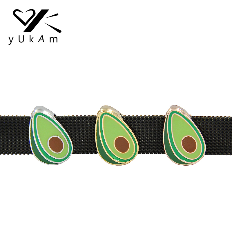 YUKAM Cute Enamel Fruit Avocado Slide Charms Keeper for Stainless Steel Mesh Keeper Bracelets Bangles Jewelry Accessories Making