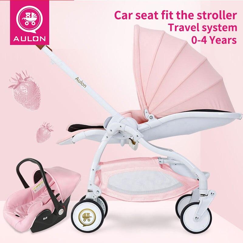 3 in1 Детские коляски Новорожденные carrriage свет зонтик автомобиль каретки четыре колеса складной может быть лежа коляски для кукол
