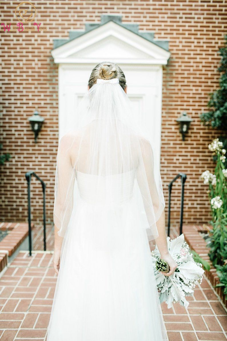 2019 Simple Short Tulle Wedding Veils Elegant Cheap White/ Ivory With Bow Bridal Veil for Bridal Wedding Accessories With Comb