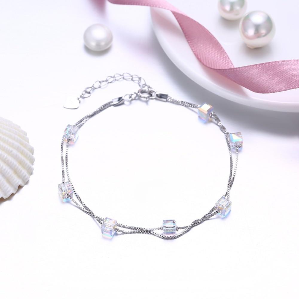 Hot Summer Sale Crystal bracelet European style for Women Crystal from Swarovski S925 sterling silver crystal bracelet female gothic style faux crystal rose bracelet with ring for women