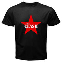 New THE CLASH Punk Rock Band Legend Red Star Logo Men S Black T Shirt Size