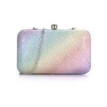 2016แฟชั่นฤดูร้อนออกแบบรุ้งถุงเย็นผู้หญิงb olsa femininaกล่องรูปร่างวันกระเป๋าคลัทช์สาวงานแต่งงานกระเป๋าXA253D